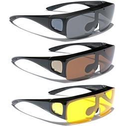 Large FLIP UP POLARIZED FIT OVER Sunglasses Cover Prescripti