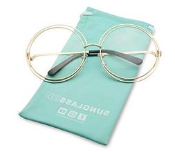 SunglassUP Large Oversized Round Metal Frame Double Wire Cle