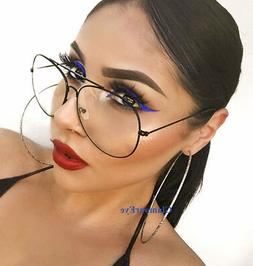 Large Rock STAR Big Metal Aviator Frames Fashion Clear Eyegl