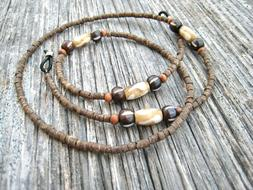 Men's Brown Wood Beaded Mask Lanyard and/or Eyeglass Chain H