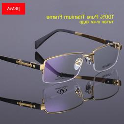 Men's Eyeglass Frames Titanium Half Rimless Eyewear Frames S