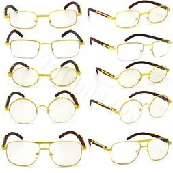 For Men's Gold Metal Frames Vintage Retro Eye Glasses Clear