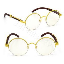 For Men's Gold Metal Wood Effect Frames Round Eye Glasses Cl