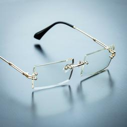 Men's Gold Sophisticated Clear Lens Square Rimless Rectangle