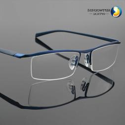 Men's Half Rimless Titanium Eyeglass Frame Spectacles Glasse