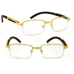 For Men's Rx Gold Metal Wood Effect Frames Eye Half-Rim Glas