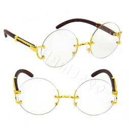 For Men's Rx Gold Metal Wood Effect Frames Rimless Round Eye
