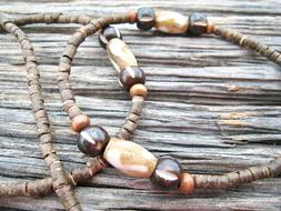 Men's Unisex Coconut Shell Wood Brown Beaded Eyeglass Chain