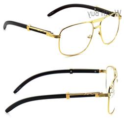 Men Women Aviator Clear Lens Eye Glasses Gold Wood Frame Fas