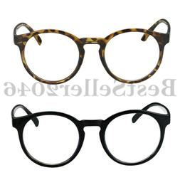 Men Women Classic Vintage Round Clear Eyewear Non-prescripti