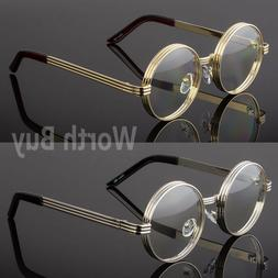 Men Women Clear Round Steampunk Retro Fashion Eye Glasses Hi