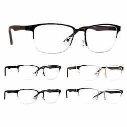 Mens Half Metal Rim Powered Bifocal Reading Eyeglasses