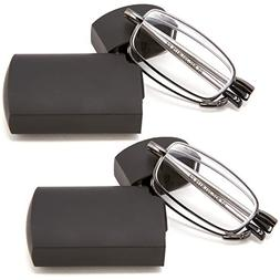 DOUBLETAKE 2 Pairs of Metal Compact Folding Reading Glasses