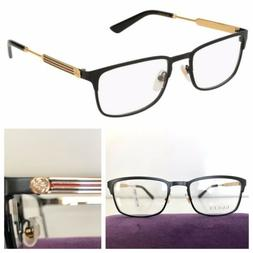 NEW AUTH GUCCI MEN GG0135O 011 52-19-140 BLACK GOLD EYEGLASS