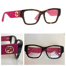 NEW AUTHENTIC GUCCI GG0104O 51-17-140 HAVANA PINK GLITTER  E