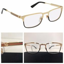 NEW AUTHENTIC GUCCI GG0135O 001 52mm GOLD/BLACK EYEGLASSES F