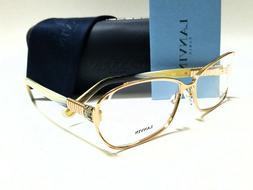 New Authentic LANVIN VLN028S 0300 Gold Horn Stones 55/15/140
