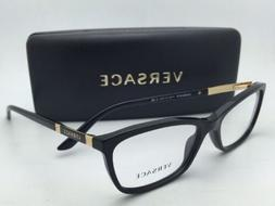 New VERSACE Eyeglasses VE 3186 GB1 54-16 Black & Gold Frames
