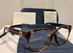 New GUCCI GG0040OA 003  Havana Eyeglasses Frame W/ Gucci Red