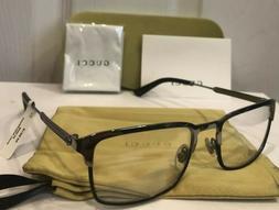 NEW GUCCI Men GG0135O 006 Silver Chrome & Black Eyeglasses F