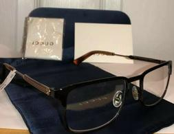 NEW GUCCI Men GG0135O 008 Jet Black & Havana Eyeglasses Fram