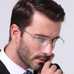 New Men's Rimless Flexible Titanium Eyeglasses Frame Ultra L