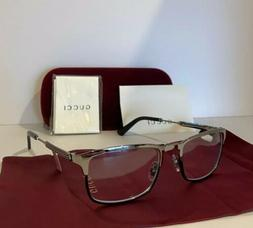 NEW GUCCI Mens GG0135O 002 Silver & Black Eyeglasses Optical