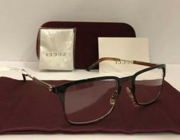NEW GUCCI Mens GG0135O 008 Havana & Black Eyeglasses Optical