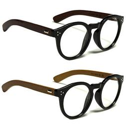 New Vintage Style Clear Lens Round Glasses Black WOOD Temple