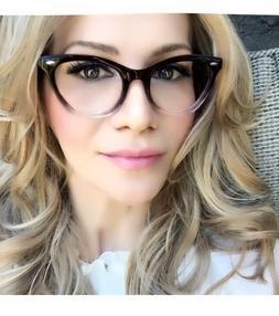 Ombre Gradient Cat Eye Frames Demi Fashion Clear Lens Glasse