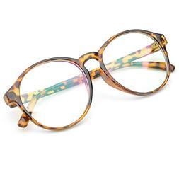 PenSee Oversized Circle Eyeglasses Frame Inspired Horned Rim