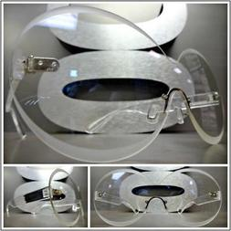 OVERSIZED EXAGGERATED SHIELD Style Clear Lens EYE GLASSES Ro