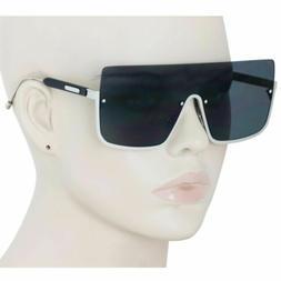 Oversized Shield Sunglasses Flat Top Gradient Lens Rimless E