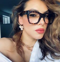 OVERSIZED XL SQUARE Vintage Retro NERD GEEK Women Eyeglasses