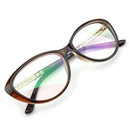 PenSee Womens Oval Cat Eye Retro Eyeglasses Frame Clear Lens