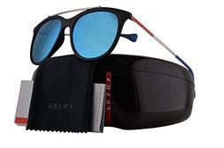 Prada PS02TS Sunglasses Black Rubber w/Blue Gradient Mirror