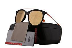 Prada PS02TS Sunglasses Black Rubber w/Orange Mirror Pink Le