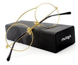 Agstum Pure Titanium Retro Round Prescription Eyeglasses Fra