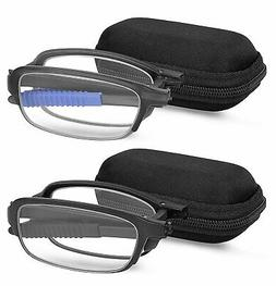 Reading Glasses 2 Pair Fashion Folding Readers with Cases Un
