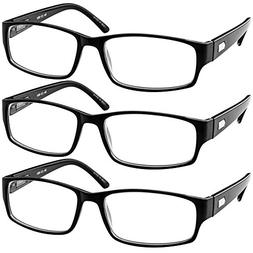Reading Glasses 2.00| 3 Pack Black Readers For Men and Women