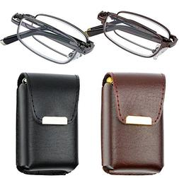 Reading Glasses Set of 2 Fashion Folding Readers with Leathe