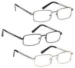 GAMMA RAY 3 Pairs Rectangle Stainless Steel Metal Reading Gl