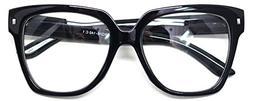 Retro Nerd Geek Oversized Eye Glasses Horn Rim Framed Clear