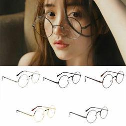 Round Clear Lens Glasses Eyeglasses For Women Men Retro Tran