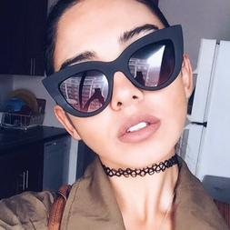 Sexy Women Cat Eye Sunglasses Vintage Leopard Frame Clear Le