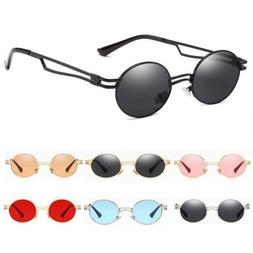Small Oval Round Circle Sunglasses Men Women Metal Hippie Fa