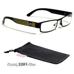 Small Women Clear Lens Square RX Sunglasses Black Silver Eye