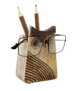 Spectacle Holder Wooden Eyeglass Stand Owl Shaped Handmade D