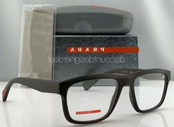 Prada Sport Square Eyeglasses VPS 07G Brown Rubberized Frame