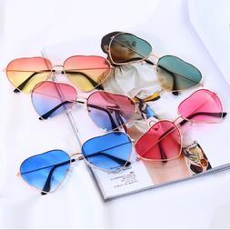 Stylish Metal Frame Sunglasses Women Love Heart Shape Lens E